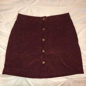 Maroon corduroy button up skirt